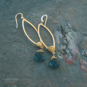 FreedOm' Blue Quartz Crystal Chandelier Earrings - Rei of Light Jewelry Designs