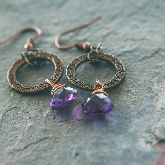 Amethyst: Goddess Earrings: Perception - Rei of Light Jewelry Designs