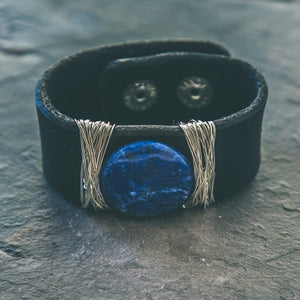 Fears are Phantoms Lapis Lazuli Black Leather Cuff - Rei of Light Jewelry Designs