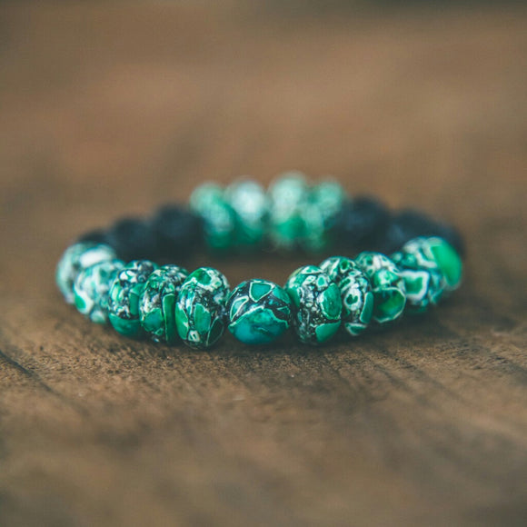 Rebirth Teal Green Magnesite and Lava Bracelet - Rei of Light Jewelry Designs - 1