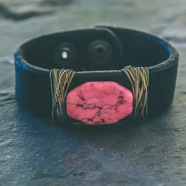 Leather Cuff Bracelet: Sacred Heart - Rei of Light Jewelry Designs