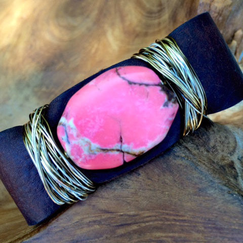 Sacred Heart: Pink Agate Leather Cuff