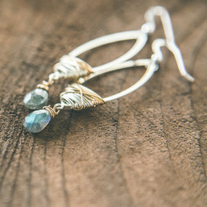 The Dancer: Labradorite Teardrop Mixed Metal Earrings