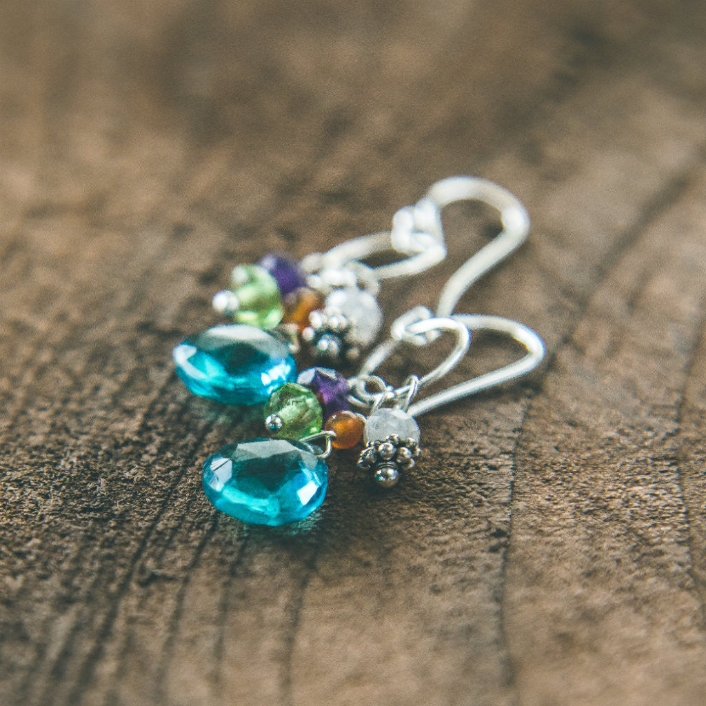 Butterlfies Are Free to Fly: Multi Gemstone Earrings