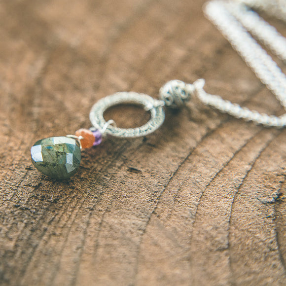 Shifting Shades Necklace : Labradorite, Sunstone, Amethyst
