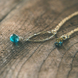 Twilight Dreaming: Teal Blue Quartz Teardrop Necklace