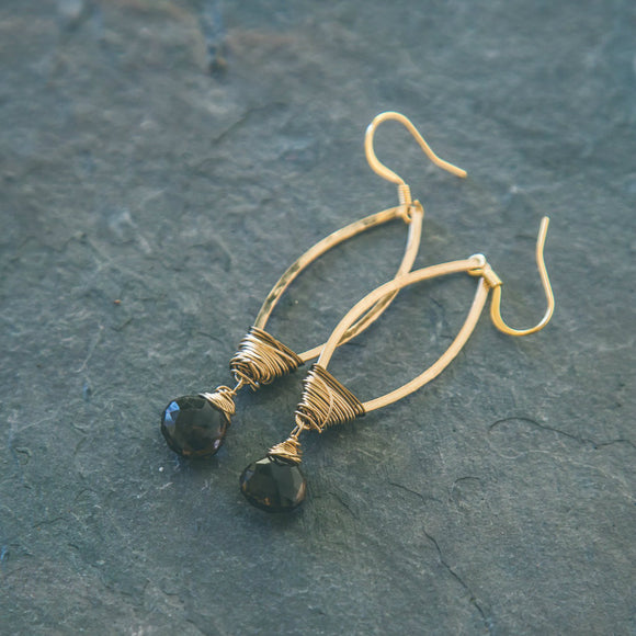 Smokey Quartz Gold Chandelier Earrings