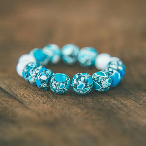 We Are The World Aqua Blue Magnesite and White Jade Bracelet - Rei of Light Jewelry Designs - 1