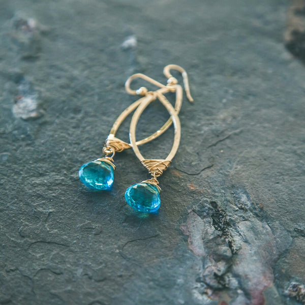 Confident Goddess: Blue Apatite Chandelier Gold Earrings - Rei of Light Jewelry Designs