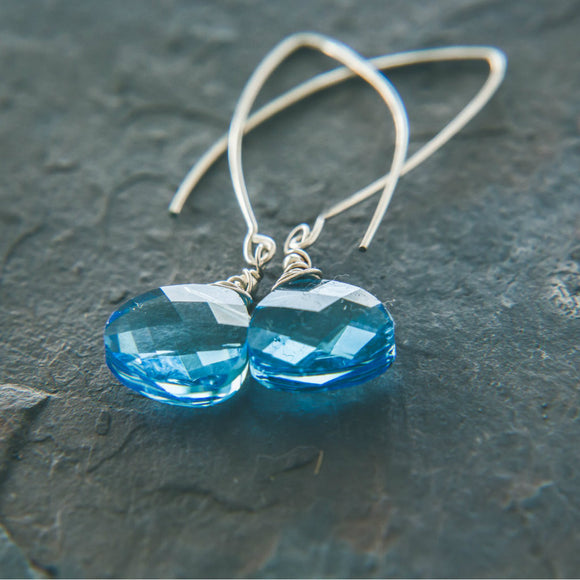 Elegance Aqua Blue Swarovski Earrings: Long Silver Earrings - Rei of Light Jewelry Designs