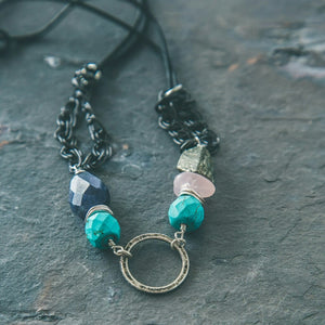 Evolve: Earth Elements Turquoise- Iolite- Pyrite- Rose Quartz Necklace - Rei of Light Jewelry Designs