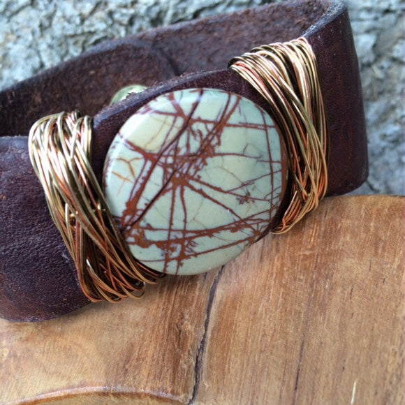 Claim Your Strength: Agate Stone Leather Cuff - Rei of Light Jewelry Designs