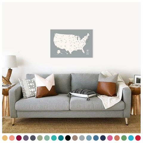 Push Pin Map of the USA in Original w/ Labels at 20x30'' (more colors)