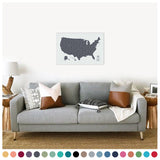 Push Pin Map of the USA in Vintage w/ Labels at 20x30'' (more colors)