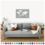 personalized cloud gray push pin travel map with pins on canvas, world map labeled, 20x30 inches, customizable