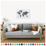 personalized vintage charcoal push pin travel map with pins on canvas, world map labeled, 20x30 inches, customizable