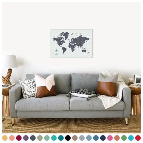 personalized vintage cloud gray push pin travel map with pins on canvas, push pin world map, 20x30 inches, customizable