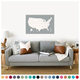 Push Pin Map of the USA in Original w/ Labels at 24x36'' (more colors)