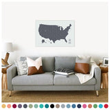 Push Pin Map of the USA in Vintage w/ Labels at 24x36'' (more colors)