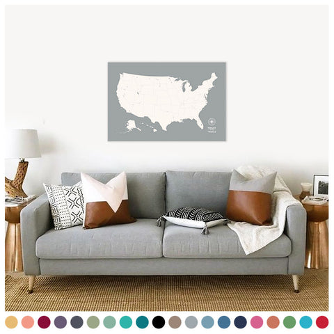 Push Pin Map of the USA in Original Design at 24x36'' (more colors)