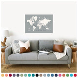personalized cloud gray push pin travel map with pins on canvas, world map labeled, 24x36 inches, customizable