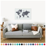 personalized vintage charcoal push pin travel map with pins on canvas, world map labeled, 24x36 inches, customizable