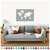 personalized cloud gray push pin travel map with pins on canvas, push pin world map, 24x36 inches, customizable