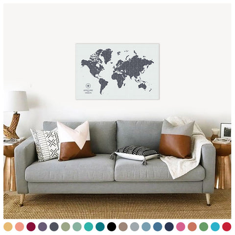 personalized vintage cloud gray push pin travel map with pins on canvas, push pin world map, 24x36 inches, customizable