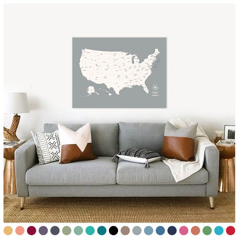 Push Pin Map of the USA in Original w/ Labels at 30x40'' (more colors)