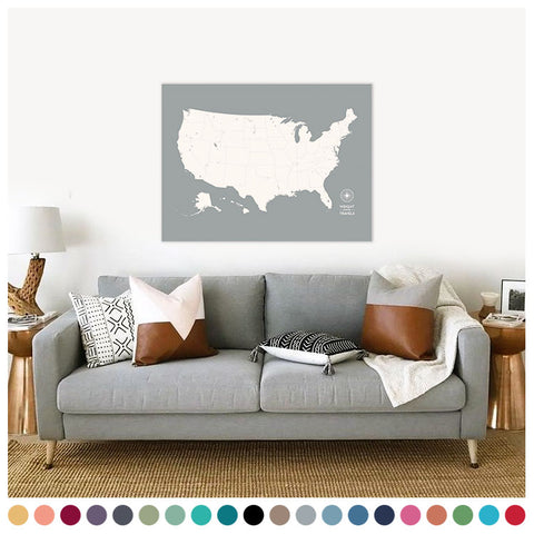 Push Pin Map of the USA in Original Design at 30x40'' (more colors)