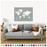 personalized cloud gray push pin travel map with pins on canvas, world map labeled, 30x40 inches, customizable