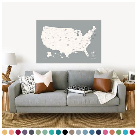 Push Pin Map of the USA in Original w/ Labels at 32x48'' (more colors)