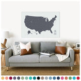Push Pin Map of the USA in Vintage w/ Labels at 32x48'' (more colors)