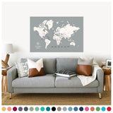 personalized cloud gray push pin travel map with pins on canvas, world map labeled, 32x48 inches, customizable