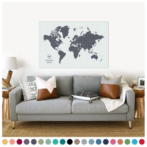 Push Pin Map of the World in Vintage-Wash Design at 32x48'' (more colors)
