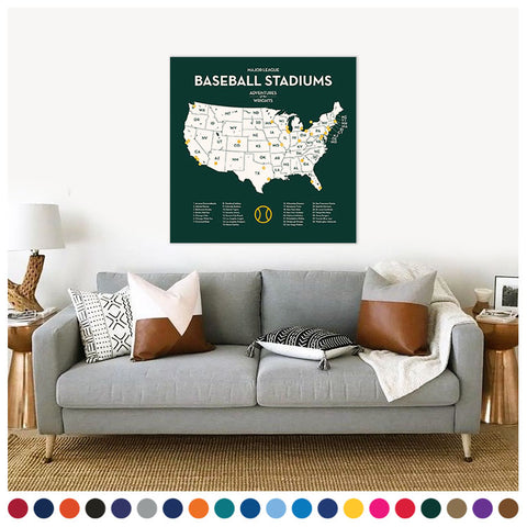 Baseball Stadium Map with Push Pins (in custom team colors and sizes)