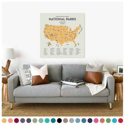National Park Map with Push Pins (in custom colors and sizes)