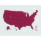Push Pin Map of the USA in Vintage w/ Labels at 30x40'' (more colors)