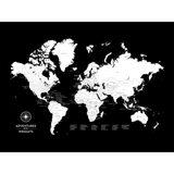 Push Pin Map of the World in Original Design w/ Labels at 30x40'' (more colors)