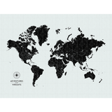 Personalized Push Pin Travel Map of the World with Push Pins on Canvas in Vintage Wash at 30x40'' (customizable colors)