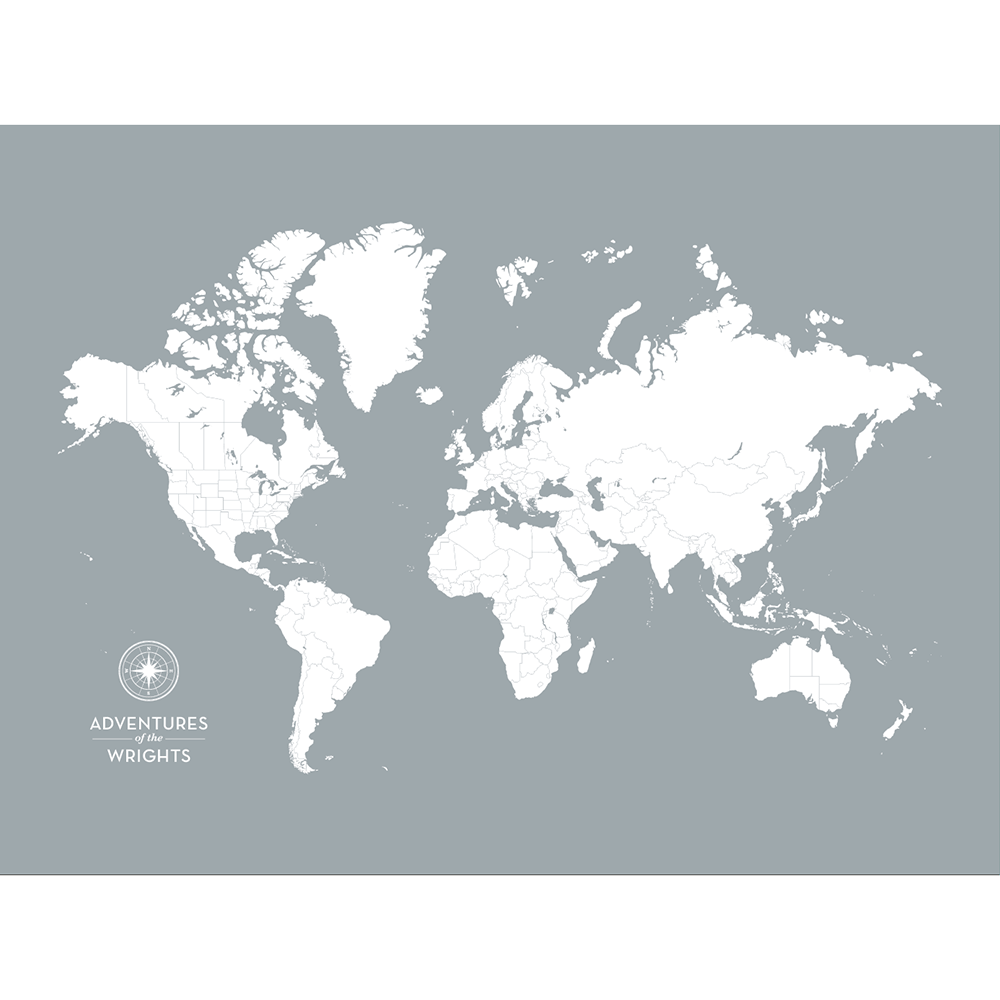 Personalized Push Pin Travel Map of the World with Push Pins on ...