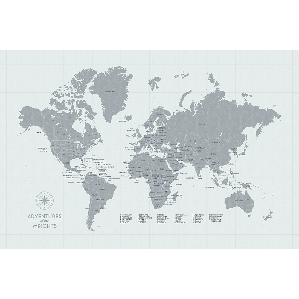 Push Pin Map Of The World In Vintage Wash Design W Labels At 20x30