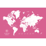 Personalized Push Pin Travel Map of the World with Push Pins in Original Design w/ Labels at 24x36'' (customizable colors)