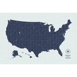 Push Pin Map of the USA in Vintage-Wash Design at 32x48'' (more colors)