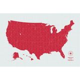 Push Pin Map of the USA in Vintage-Wash Design at 24x36'' (more colors)