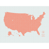 Push Pin Map of the USA in Vintage-Wash Design at 30x40'' (more colors)