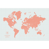Personalized Push Pin Travel Map of the World with Push Pins in Vintage Wash w/ Labels at 20x30'' (customizable colors)