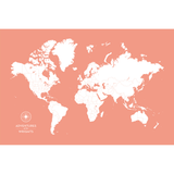 Personalized Push Pin Travel Map of the World with Push Pins on Canvas in Original Design at 24x36'' (customizable colors)