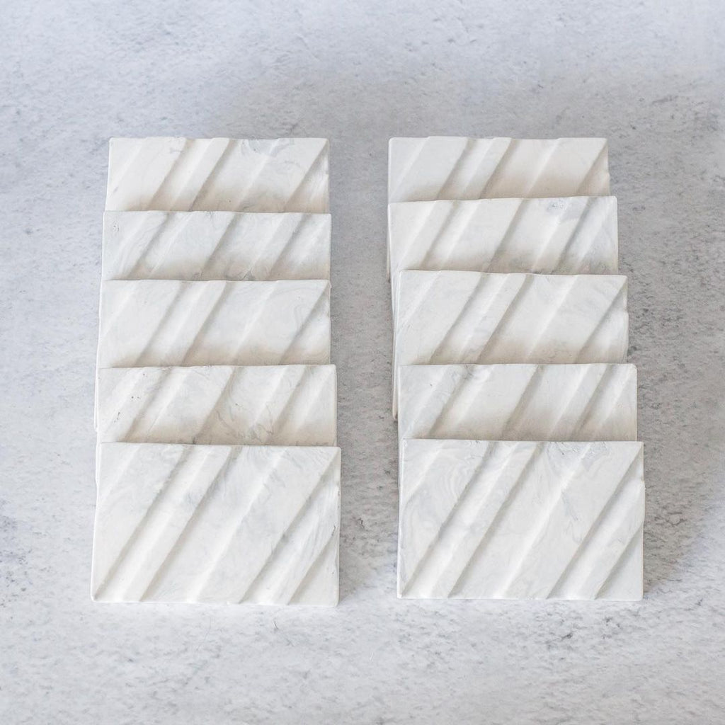 marble effect soap dishes made from Jesmonite