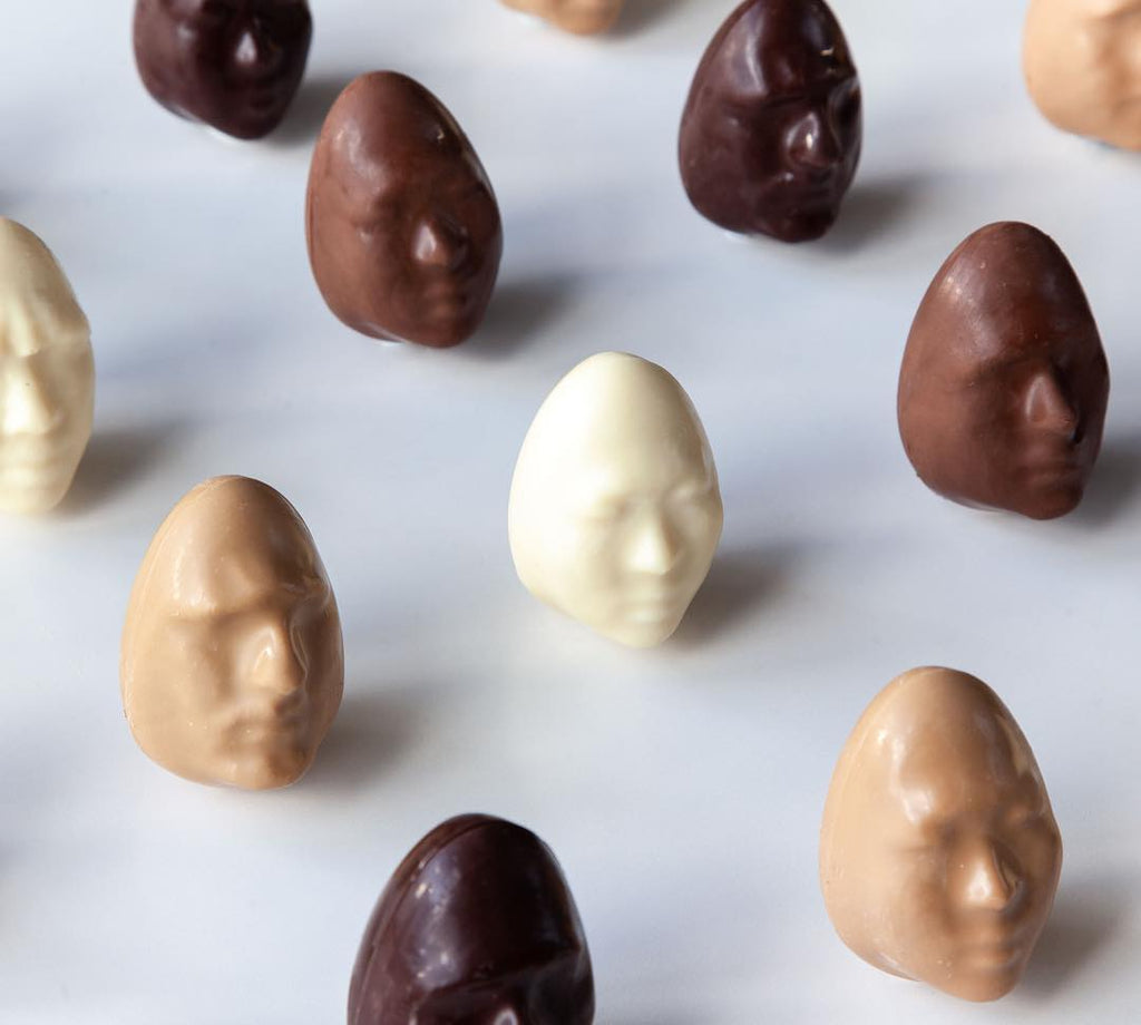 3D Scanned Faces as Chocolate Eggs by Meltdown Artisan